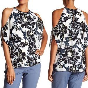 XL Vince Camuto Floral Print Cold Shoulder Top NWT